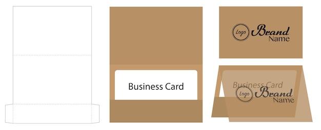 Business card envelope die-cut template mock up