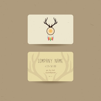 Business card for ethnic style, can be used us party invitation or us boho shop business cards, vector illustration