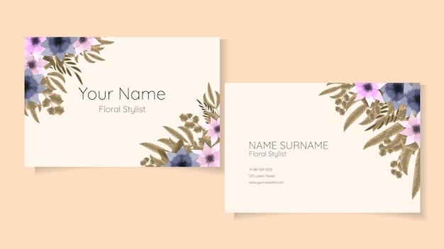 Визитная карточка цветочный дизайн креативный, современный, простой цветочный шаблон