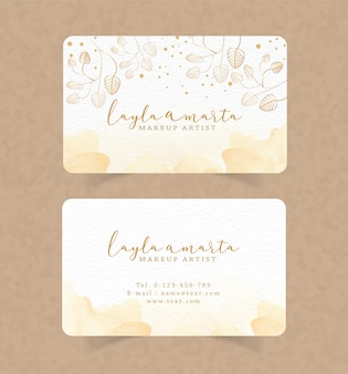 Business card gold splash watercolor and floral background