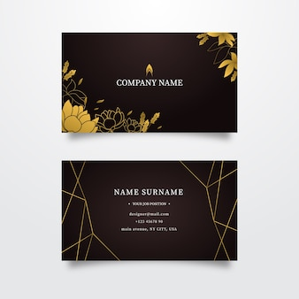 Business card golden floral template