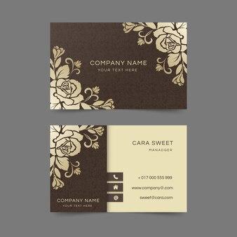 Business card golden floral template