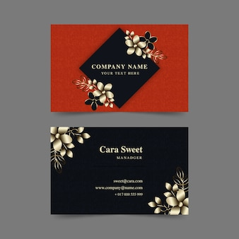 Business card golden flowers template