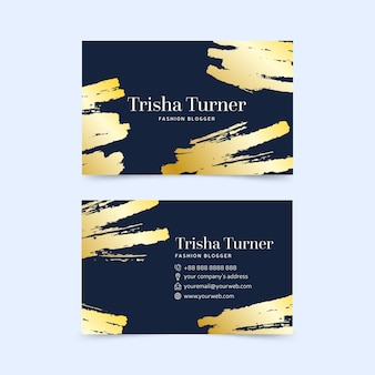 Business card golden stains template