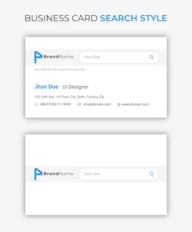 Business card google search style