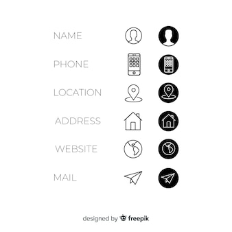Business card icons set