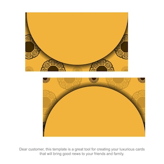 개성을 위한 빈티지 브라운 패턴의 노란색 명함.