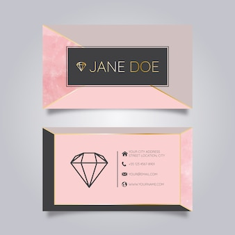 Business card marble with golden geometric lines