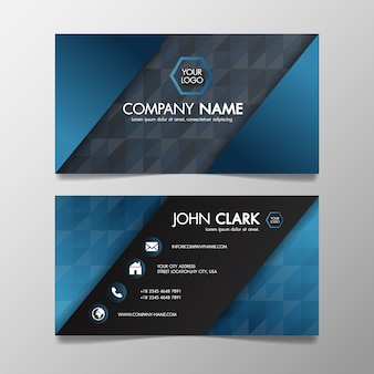 Business card modern blue and black template creative and clean, illustration abstract.
