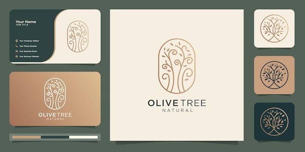 Business card and modern gold olive tree vector,olive oil logo design template.