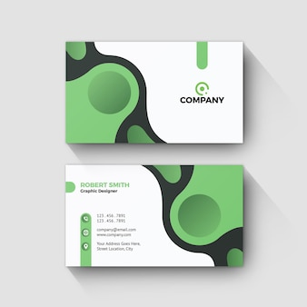 Business card modern green shape design