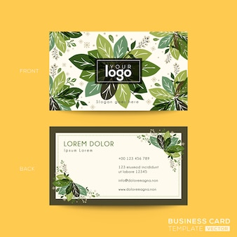 Business card, name card design with green leaves