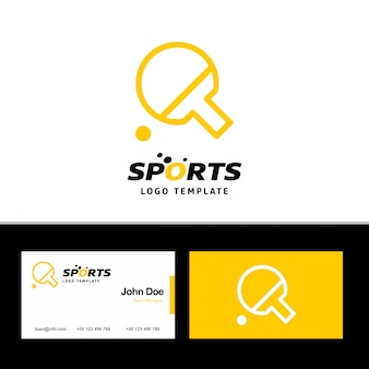 Business card of sports with yellow and white theme