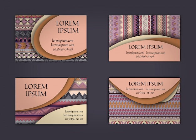 Визитная карточка или шаблон визитной карточки с шаблоном стиля boho background.corporate identity design