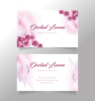Business card orchid flower template