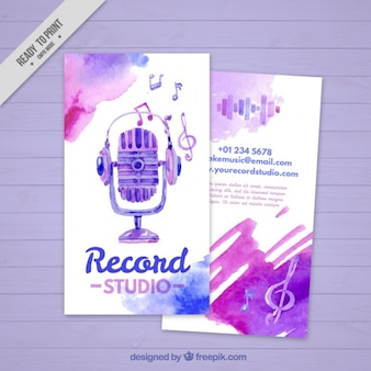 Business card painted with watercolors for an music studio
