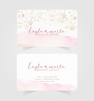 Business card pink splash watercolor and floral background