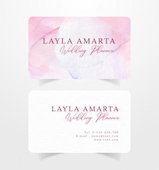 Business card pink splash watercolor template
