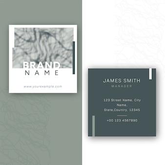 Сообщение визитной карточки или макет шаблона спереди и сзади.