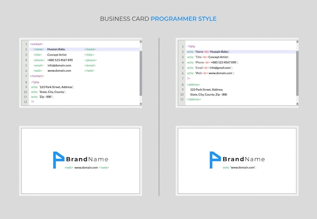 Business card programmer style