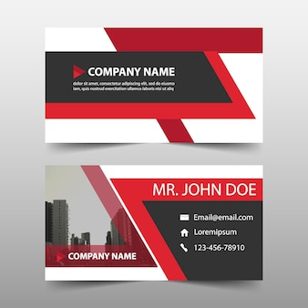 Business card, red color Free Vector