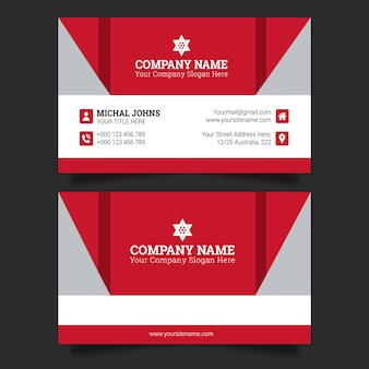 Business card in red
