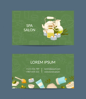 Business card of set template for beauty and spa or massage salon illustration