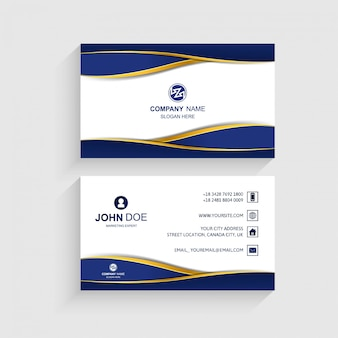 Business card set template creative wave design vector