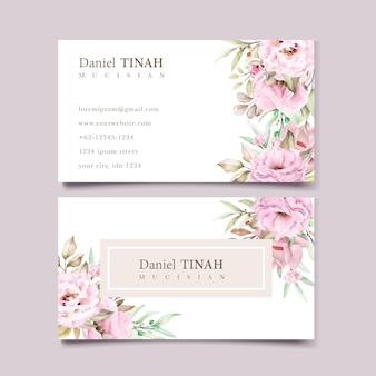 아름 다운 수채화 꽃으로 설정하는 명함