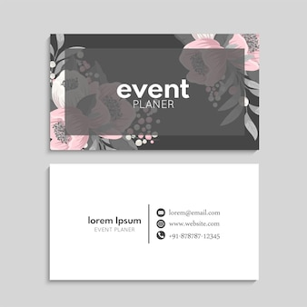 Business card set with flowers.