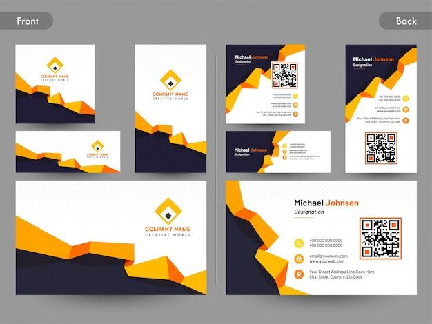 Business card set with front and back presentation