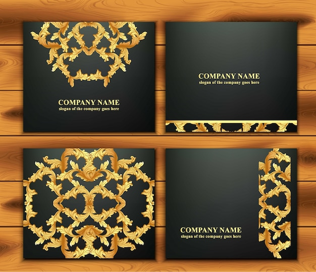 Business card set with luxurious ornament vector. abstract design illustration. place for texts