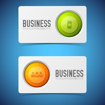 Business card set with text and round icons