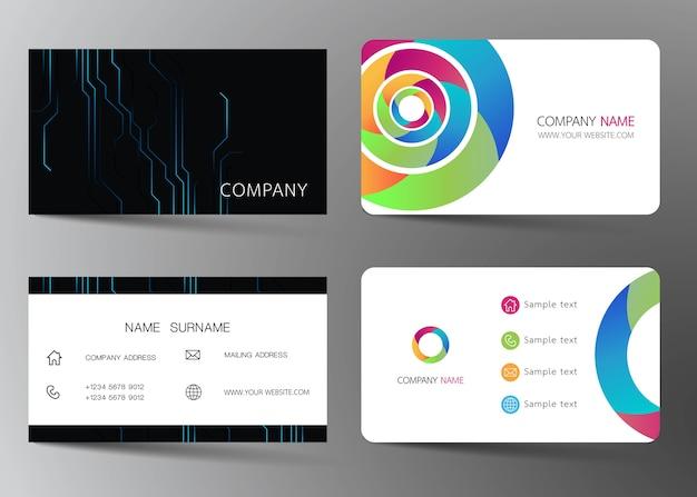Business card set. Premium Vector
