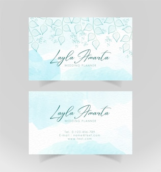 Business card sky blue with floral ornament
