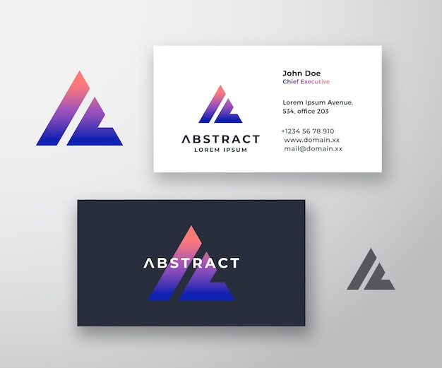 Business card. stationary realistic. colorful gradient pyramid. a and l letters monogram
