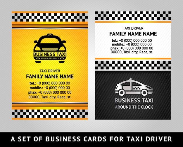 Визитная карточка - такси кабина, вектор шаблон 10eps