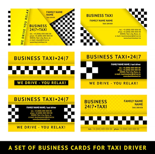 Business card taxi -  illustration set