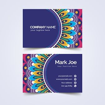 Business card template abstract colorful design