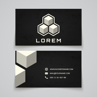 Business card template. abstract cubes concept logo.  illustration