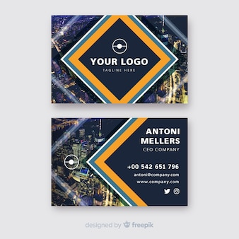 Business card template in abstract style