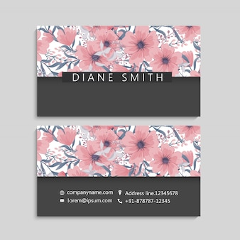 Business card template, background floral pattern