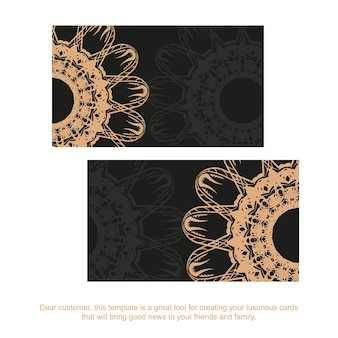 Business card template in black with brown mandala ornament