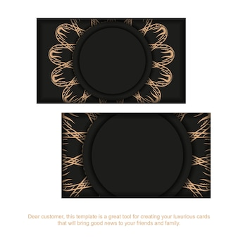 Business card template in black with brown mandala pattern
