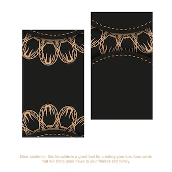 Business card template in black with brown vintage pattern
