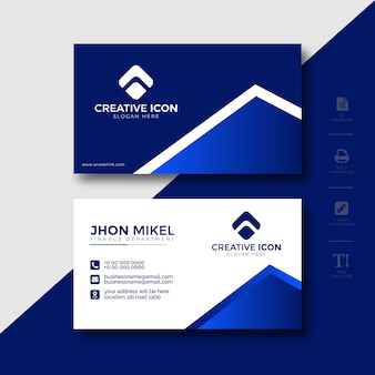 Business card template blue abstract design