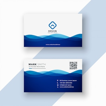 Business card template in blue wavy style