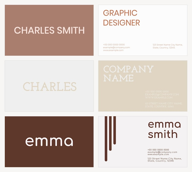 Business card template in brown tone flatlay