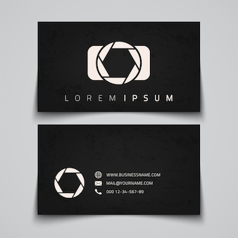 Business card template. camera conceptual logo.  illustration