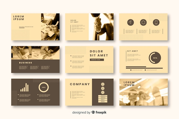 Business card template collection with sepia filter